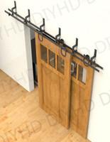 Wholesale 6 ft horseshoe wheel bypass sliding barn door closet door interior bypass track kit