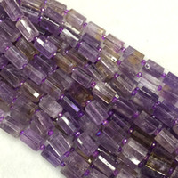 ametrine beads - Natural Genuine Purple Yellow Ametrine Faceted Hand Cut Tube Loose Beads Barrel Column Beads quot