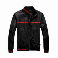 Wholesale Sell Men s Pattern Classic Jacket Outwear Red Green Rib Sleeve Zipper Up Black Blue M XXL Men s Leisure Jacket Outlets