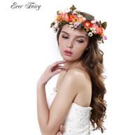 Wholesale 2016 New Women Handmade Flower Wreath Crown Garland Halo for Wedding Festivals Accessories Boho Floral Crown