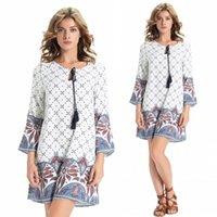 gypsy dresses - New Bohemian Print Loose Style Gypsy Casual Dresses Tassel Crew Neck Long Sleeves Short Women Clothing Dresses Cheap FS0247