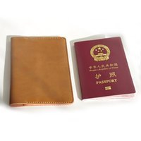 Wholesale Hand made genuine leather passport cover soft vintage the cover of the passport holder Card ID Holders