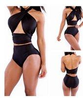 Wholesale Sexy Women Bikinis Set Plus size Swimsuit Beachwear Tankinis set Bottom Pieces Print High Waist Hollow out Swimwear HMS15