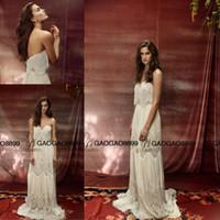 amazing drops - Lihi Hod Vintage Lace Chiffon Summer Holiday Beach Wedding Dresses Amazing Pearls Detail Sheer Neck Full length Cheap Boho Wedding Gown