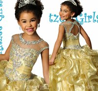 achat en gros de robe de bal jaune pour les tout-petits-2016 Robe New robes Pageant Crystal Ball mignon de petite fille perlage robe en organza jaune Flower Girls Robes Party For Toddler Teens Cheap
