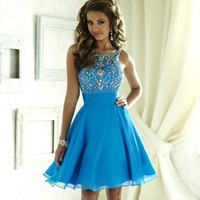 Wholesale Custom Made Beaded Crystal Prom Dress Chiffon Women Formal Backless Knee Length Party Dresses Whole Price