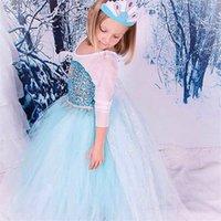 Wholesale Frozen Princess Dress Baby Clothes Elsa Dancewear Costumes Cosplay Kids Girls Skirt Dress Baby Clothes with Flower Diamond for Girls LM002