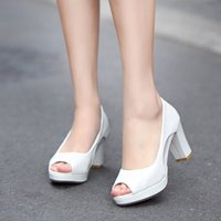 Wholesale 2016 Korean version of the new spring and summer high heeled patent leather sandals fish head thick with shallow mouth single shoes women sh