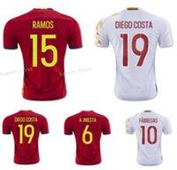 2016 2017 España Camisetas de fútbol Tailandia Calidad 15 RAMOS 21 SILVA 19 DIEGO COSTA 3 PICA 6 A.INIESTA 10 FABREGAS Espana Soccer Shirts
