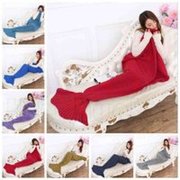 Wholesale Adult Mermaid Blankets Handmade Crochet Mermaid Tail Blanket Mermaid Tail Sleeping Bag Knit Sofa Nap Blankets Costume Cocoon Blankets E31