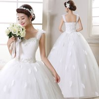 Wholesale 2016 New Ball Gown Sweetheart Wedding Dresses Korean Style Diamond Bride Dress Bateau Fashion Bridal Dress NW019