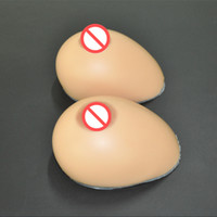 Wholesale Oral Shape Wide Water Drop High Quality Suntan Color Silicone Breast Prosthesis Fake Boobs Realistic Artifiical Breast Pumps Crossdresser