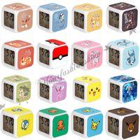 Wholesale Poke LED Alarm Clock D colorful flashing light Cartoon Pikachu Pocket Digital Desk Table Alarm Clock Night Light For Kids Birthday Z242