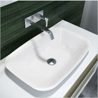 Wholesale Rectangular Bathroom Solid Surface Stone Counter Top Vessel Sink Fashionable Cloakroom Stone Glossy Vanity Wash Basin RS38205