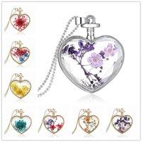 beautiful bottle designs - New Design Beautiful Accessories Purple Flower Women Dry Flower Heart Glass Wishing Bottle Pendant Necklace