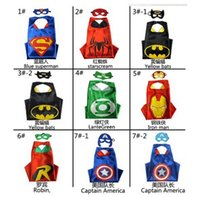 Wholesale 70x70CM Double Side Superhero cape Cape Mask Superman batman spiderman super hero capes for kids Party Cosplay Kids Cosplay Capes