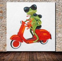 baby oil painting - Lovely Frog with baby on Motorcycle Pure Handmade Modern Abstract Decor Wall Art Oil Painting On Canvas customized size accepted alilovely