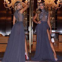 art universe - Miss Universe High Neck Pageant Dresses Chiffon Sexy Leg Split Empire Prom Party Beading Long Floor Length Party Graduation