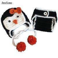 baby penguin photos - Newborn Penguin Costume Handmade Knit Crochet Baby Girl Pom Pom Animal Hat and Diaper Cover Set Toddler Infant Photo Props