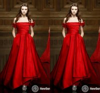 berry prom dress - Red Carpet Runway Fashion Off Shoulder Prom Dresses Satin Taffeta Cheap New Berry Custom Made Dresses Evening Wear Guest Prom Dress