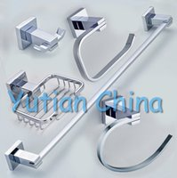 Wholesale Stainless Steel Bathroom Accessories Set Robe hook Paper Holder Towel Bar Towel ring bathroom sets YT