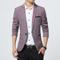 Wholesale M XL Spring Plaid blazer men Cotton unique mens blazers mens blazer jacket slim fit jaqueta men suit for men Coats Casual