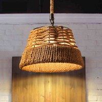 Wholesale Package mail Pendant Lights American Village Retro Pendant Lamp Creative Pastoral Rustic Country Style Rope Pendant Lights Cafe Restaur
