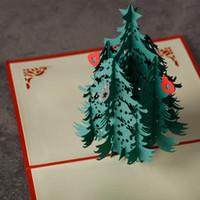 Wholesale Christmas Castle Tree elk D laser cut pop up paper handmade postcards custom greeting cards Xmas gifts souvenirs postcards H1210