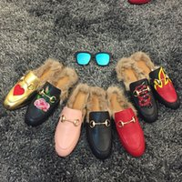 beading on fabric - 2016 Luxury Ladies Synthetic Fur Fo veola Women Nest Shape Cozy Slippers Black Genuine Leather Branded Cover Toe Loafer Shoes For Women