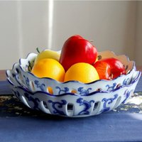 Wholesale Multifunctional ceramic plate blue and white porcelain big fruit bowl snack plate multifunctional ceramic furnishing articles
