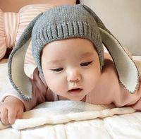 Unisex Spring / Autumn Crochet Hats 2016 Autumn Baby Cartoon Bunny Ears Hat Kids Knitted Cap Girls Boys Warm Beanies Children Hats