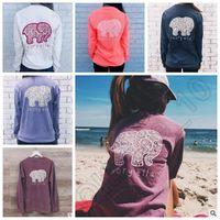 Wholesale Dindim Brand New Summer Ivory Ella T shirt Womens Clothing Tee Printed Animal Elephant T Shirt Loose Long Sleeve Harajuku Tops CCA4609
