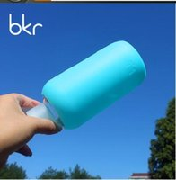 Wholesale NEW BKR glass bottle with silion cloth pocket color glass water bottle sports glass bottle travel bottle high quality