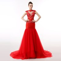 Wholesale High Quality Off shoulder Red Wedding Dresses with Long Trumpet Tulle Tail Factory Price Customized Color is Available
