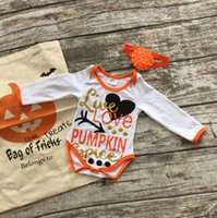 """Cheap Fall Halloween baby girls boutique infant kids clothes """"live love pumpkin"""" long sleeve party romper with matching bow set"""
