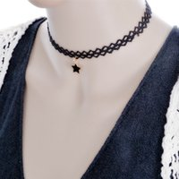 Wholesale New Korean fashion adjustable lace minimalist five pointed star pendant necklace Ms Creative Lace Necklace Epacket Free