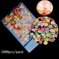 Wholesale Pack D Fimo Nail Art Decorations Fruit Flowers Feather Design Tiny Polymer Clay DIY Accessories Nail Sticker