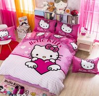 american girl quilt - 2016 New KT Cat Printing Cotton Children Girls Bed Set Pink Lovely Cartoon Comfor Bedspreads Quilt Cover Bed Sheet Pillowcase Set B4042