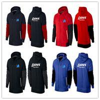 american football lions - winter sports Detroit cheap Lions hoodies American football hoodies black red royal blue warm cheap men Sweatshirts size M XL