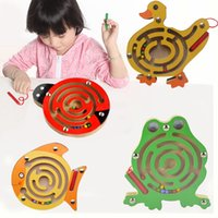 animal maze games - set Magnetic Marbles Labyrinth Wooden Animal Maze Educational Puzzle Intellectual Kids Parenting educational Game Toys