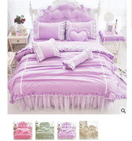 Wholesale Luxury Cotton Duvet cover Bedding sets Girls bedding gifts Lace Bed Skirt bedspreads set pricess bed Crib bedding