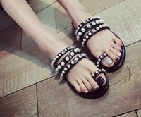 beaded moccasins - Cool summer set toe beaded flat pearl slippers low heel shoes beach slippers