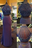 Wholesale Two Pieces Backless Arabic Prom Dresses Crew Beaded Sheath Evening Dresses Sexy Elastic Satin Formal Gowns