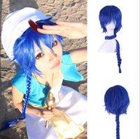 al por mayor aladdin magos-Moda calor peluca de Anime Magi azul larga trenza de pelo sintético resistente Aladdin peluca
