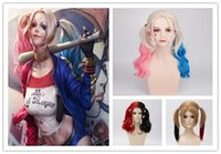 Wholesale 2016 Hot New Three style Suicide Squad Harley Quinn Cosplay Wig Gradient Hair