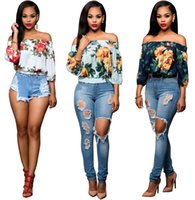 Wholesale 2016 New Arrival Hot Sexy Slash Neck Women half sleeve Top Summer Style Sexy Womens Print strapless Tops T shirt