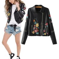 advance station - Europe Station Fashion Women Jacket Advanced Customizatio Winter Rivet Oblique Zipper Leather Jacket Embroidered Jacket SQ1210