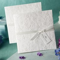 Wholesale White bridal invitations lace bowknot hollow customized printing wedding invitation card business card whole