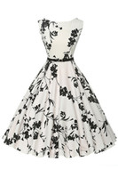 Wholesale 2016 Vintage Classy Casual Women Dresses Retro Scoop Printed Floral Black and White Swing Rockabilly Summer Beach Women Wear FS0080