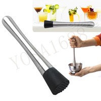 Wholesale New Cocktail Muddler Stainless Steel Bar Mixer Barware Mojito Cocktail DIY Drink Fruit Muddler Crushed Ice Barware Bar Tool